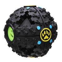 Wholesale Fantastic Black Bone Pattern Pet Dog Feeding Ball Sound Toy Dog Treat Dispensing Toy Interactive IQ Treat Training A249