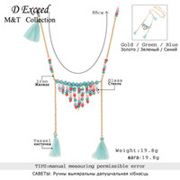 Wholesale 2016 Bohemia blue classical fashion jewelry handmade necklace beads multicolor bardian crystal measly female simple curved clavicle chain
