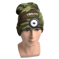 Wholesale LED Light Winter Hat Knitted Warm Cap Comfortable Light up Beanie USB Rechargeable Camouflage Green Grey