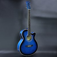 acoustic electric cutaway - Electro Acoustic Electric Folk Pop Flattop Guitar Jumbo Inch Guitarra String Blue Light Built in Tuner Cutaway Basswood