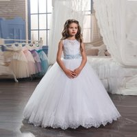 Wholesale 2017 New Princess Hot White Flower Girl Dress with Blue Sash Floor Length Girls First Communion Dresses Girls Lace Wedding Party Dresses