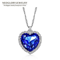 Wholesale Neoglory Crystals Titanic Heart Ocean Love Necklaces Pendants for Women Fashion Jewelry Birthday Best Friends Gifts