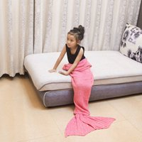 Wholesale 90x50 baby Mermaid tail blanket boy girl Crochet Warmer Knit Twin Blanket Handmade Cocoon Super Soft bed Sleeping Bag
