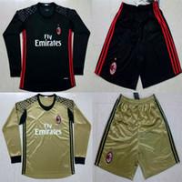 ac kits - 2016 Long Sleeve AC Milan Goalkeeper Soccer Jerseys portiere Donnarumma Black Gold Goalie Milan Football Shirts Kits maglie calcio