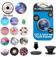 Wholesale 123 Designs Universal PopSockets Expanding Stand Grip for iphone plus Smartphones Tablets Flexible Holder pop socket holder ring