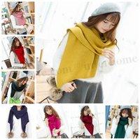 ball blanket - Women Solid Cotton Knitted Scarf Fashion Plush Ball Scarves Winter Pom Pom Scarf Crochet Wrap Warm Knit Pashmina Shawl Blanket Scarf D318