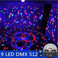 Wholesale 9 LED DMX Remote Control Beautiful Crystal Magic Effect Ball Light DMX Disco Dj Stage Lighting Play