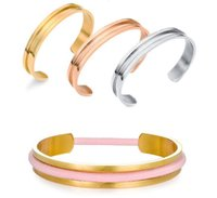 Wholesale Fashion Silver Gold Rose Gold Titanium Steel Hair Tie Bracelet Cuff Bangles for Women Jewelry Hair Tie Holder Stainless Steel Open Bangles