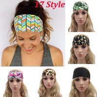 Wholesale 2017 New Women Headbands Bohemia Fabric Printed Sports Hairband Fashion Yoga Stretch Headbands Lady Bandana Head Wrap Style WX H15