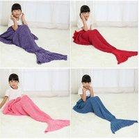 Wholesale 90 CM Kids Mermaid Blankets Sleeping Bag Mermaid Tail Sleeping Bag Mermaid Wrap Cocoon Costume Bed Sofa Blankets Air condition Blank