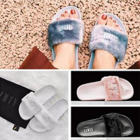 Wholesale 2016 Leadcat Fenty Rihanna Shoes Women Slippers Indoor Sandals Girls Fashion Scuffs Pink Black White Grey with unpack retail box dust bag