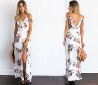 Street Style Mini Dresses Summer 2017022511 Floral print ruffles chiffon maxi dresses Strap v neck split beach summer dress Sexy backless women dress long vestidos