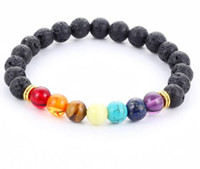 Wholesale Natural stone agate molten rock mm volcano stone colorful beads bracelets energy Bracelet