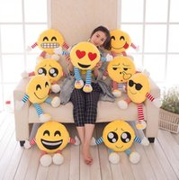 Wholesale 18cm Soft Emoji Smiley Emoticon Pillows Cartoon Round Cushion Pillows Stuffed Plush Toy Emoji Plush Dolls Throw Pillow LJJP383