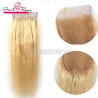 Wholesale Top inch Blonde Color Straight Hair Lace Closure quot quot Greatremy Blonde Brazilian Human Silky Straight Top Closure