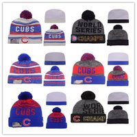 Wholesale NEW Hot Chicago Cubs Pom Knit Beanies World Seris Champs Beanies MLB Hats Winter Caps Fashion Beanie Cheap Good Mix Order
