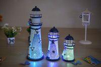 Wholesale New Vintage Home Decor Artware Iron Handicrafts Mediterranean Flashy Lighthouse Flashy Shiphouse For Birthday Christmas Gift