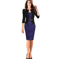 Cheap Three Quarter False Two Pieces Women Business Suit Modern Career Dress Pencil Dress S-XXXL Color Printing Black Dress Large Size