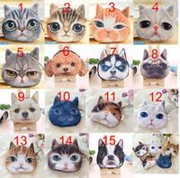 Wholesale 15 Design Newest Cartoon Coin Wallet Cute Cat Face Coin Purse Zipper plush Coin Bag kids purse bag