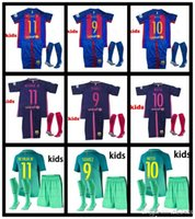 Wholesale 2016 best Quality kids Short sleeve kit socks Shirts Home red Away purple third3 green Messis