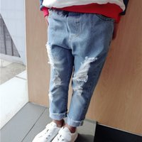 Wholesale Boys Skinny Ripped Jeans Girls Casual Pants Fashion Children Trousers Baby Clothes Toddler Denim Hole Kids Clothing New