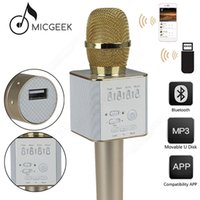 Wholesale 2017 Hot Sale Wireless Handheld Micro MicGeek Q9 bluetooth mic speaker karaoke microphone speaker Stereo Player Super bass Portable Speaker