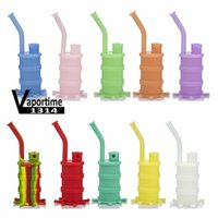 Silicone Mini Bong Water Pipe Colorful 4 Parts Solid Luminous Glow Color Silicon Downstem Glass Bowl Bongs Pipes Smoking Proof 416
