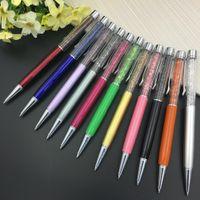оптовых 2-in-1 stylus pen-Оптово 50 ПК / серия 2 в 1 Кристалл Стилус емкостный экран Стилус Алмазный шариковой ручки смешанный цвет волокон емкостным Pen