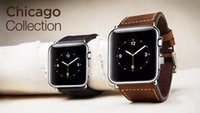 For Apple apple chicago - Apple watch strap wrist belt for iWatch Chicago collection genuine leather band stainless steel buckle