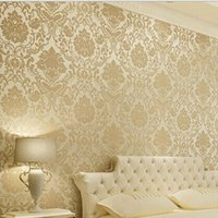 Wholesale Vintage Classic Beige French Modern Damask Feature Wallpaper Wall paper Roll For Living Room Bedroom TV Backdrop