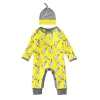 airplane hat - 2017 New Spring Autumn Newborn Clothes Long Sleeve Paper Airplane Romper Baby Boys Girls Romper Jumpsuit Hat Baby Outfits Top Quality