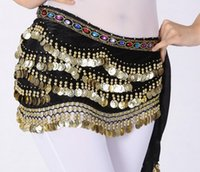 Wholesale New Belly Dance Costume Dancing Rows Hip Skirt Scarf Wrap Belt Hipscarf with Coins Bellydance waist chain Dancing Skirts