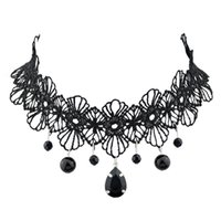 Celtic bead designs patterns - New Design Black Lace Flower Pattern Tattoo Choker Necklaces with Beads Charms Pendants for Women