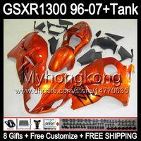 8gift Pour brillant orange SUZUKI Hayabusa GSXR1300 96 97 98 99 00 01 13MY67 GSXR 1300 GSX-R1300 GSX R1300 02 03 04 05 06 07 TOP noir Carénage