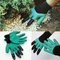 Садовые джинсовые перчатки с 4 когтями, встроенными в когти Простой способ садить рытье Посадочные перчатки Водонепроницаемые устойчивые к шипам 300 паров