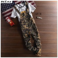 Wholesale New Mens Camo Bib Overalls Fashion Slim Ripped Skinny Overalls Jeans Man Casual Blue Denim Jumpsuits Jeans Man Suspender Pants