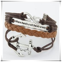 anchor beaded jewelry - 2016 HOT Fashion Jewelry anchor Alloy Leather Bracelet Casual personality PU Woven Beaded Bracelet Vintage Punk Bracelet