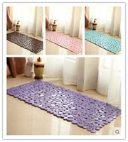 Wholesale 2016 NEW colors Stone Style PVC Bath Mat Non Slip Anti Bacterial With Suction Cups Carpet Rug For Shower Bathtub Mat