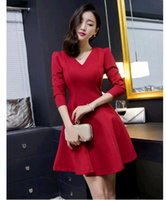 add a size - Hot Selling new fashion New winter Krean more large size ladies add wool v neck long sleeve dress show thin joker render skirt