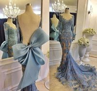 Wholesale Luxury Long Applique Sequins Prom Gown With Elegant Jewel Long Sleeve Open Back Evening Dresses New