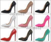 al por mayor bombas de clavos-Sexy Señoras Tacones altos Spikes Zapatos 12cm Remaches Studded zapatos de vestir Mujeres y Chicas Bombas Hot Candy venta Spike