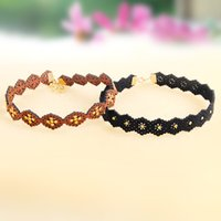 alloy rust - Hollow Flower Diamond Choker Necklace Alloy Blossom Black Grey Rust Color Suede Collar Necklace Women Wedding Party Jewelry Gift