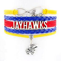 best crimson charms - Custom Infinity Love Jayhawks Multilayer Wrap Bracelet Best Gift Crimson Blue Suede Leather Bracelet Custom any Themes Dropship