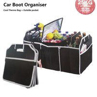 Wholesale 3 In Car Boot Organizer Foldable Trunk Organizer Shopping Tidy Cool Thermo Bag With Pockets