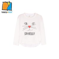 Wholesale Girls Cat Letter Print White T shirts Crew Neck Long Sleeve Cute Tops Casual Preppy Style Tees Kids Wear YAKUYIYI