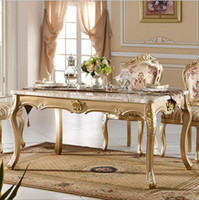 Wholesale Antique Style Italian Dining Table Solid Wood Italy Style Luxury marble Dining Table Set p10087