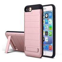 Cheap Rugged Combo Brush Defenfer Cases Stand Holder Credit Card TPU Hybrid PC Cover Case for iPhone 7 6 6S Plus Multi-functional Protector