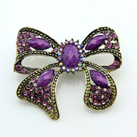 antique pin for sale - Antique Gold Purple Resin Rhinestone Bowknot Brooch Pins Vintage Alloy Big Brooch for Women Wedding Bride Brooches Jewelry Hot Sale