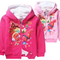 Wholesale Baby Big Girls Coat Trolls Winter Cartoon Warm Jackets For Kids New Fashion Children Cashmere Pink Hooded Sweaters