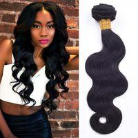 7A Vente en gros perruque perruque Virgin Hair Weave extensions de cheveux humains 3pcs / lot brésilien Hair Extensions Traitement de cheveux Remy naturel bBack peut être teint
